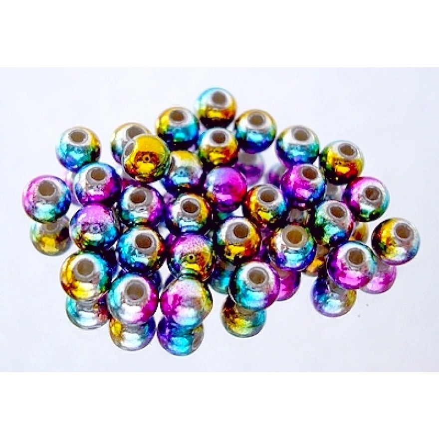 Messing-Perlen Brass Beads-rainbow-30Stck.
